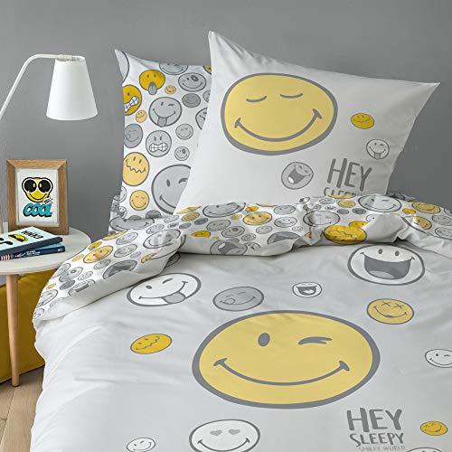 Smiley Parure de lit 100% Coton - Housse de Couette + Taie d'oreiller