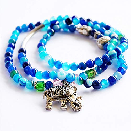 Natural Blue Tourmaline Buddha and Elephant Charm Wrap Bracelet