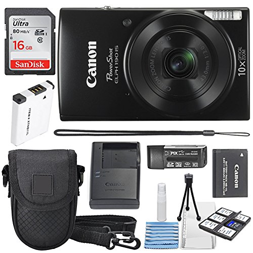 Image of Canon PowerShot ELPH 190 IS Digital Camera (Black) with 10x Optical Zoom and Built-In Wi-Fi with 16GB SDHC + Replacement battery + Protective camera case Along with Deluxe Cleaning Bundle: Bestviewsreviews