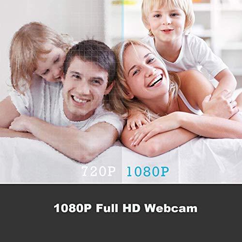 Rpanle Webcam 1080P con Micrófonz, Webcam Portátil para PC,Webcam USB 2.0, Vista Gran Angular de 90º,Plug y Play, para Videoconferencia/Estudios/Conferencias/GrabaciónJuegos miniatura