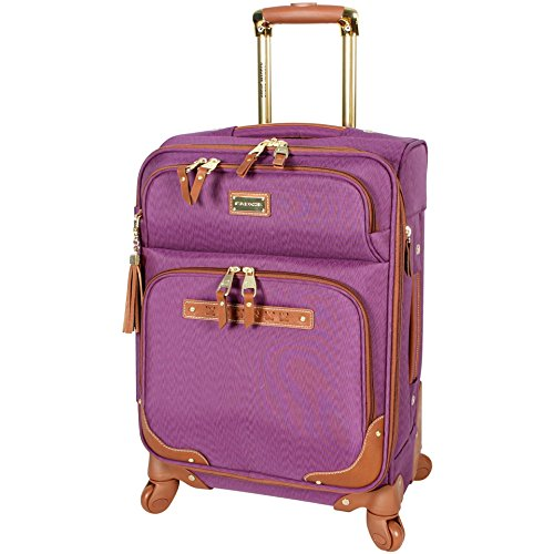 Steve Madden Designer Luggage Collection - Lightweight Softside Expandable Suitcase for Men & Women - Durable 20 Inch Carry On Bag with 4-Rolling Spinner Wheels (Global Purple)