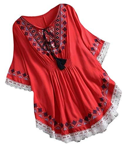ChengZhong blusa mexicana de manga 3/4 bordada campesina para mujer Rojo rosso XS