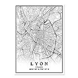 Francia Ciudad Mapa Paris Lyon Marseille Montpellier Niza Estrasburgo Toulouse Pósteres Arte de la pared Lienzo Pintura Impresiones Interior Decoración ( Color : L , Size (Inch) : 50x70cm No Frame )