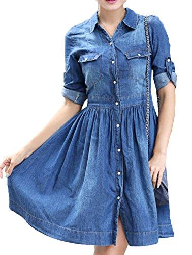 Scothen Damen Jeanskleid Hemdblusenkleid Tunika Jeans Bluse Frühling Sommer Elegant Bodycon Jeanskleid Langarm Rundhal Knopf Knielang Epaulet Denim Blusekleid Partykleid Cocktail Kleid