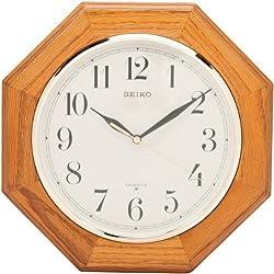 Seiko 12 Octagonal Shape Wall Clock - Medium Brown Solid Oak