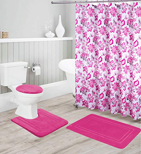 Better Home Style 16 Piece Solid Color Modern Design Embossed Memory Foam None-Slip Bathroom Rug Set Includes Bath Rug, Contour Mat, Lid Cover, Shower Curtain and 12 Roller Ball Hooks (Hot Pink)
