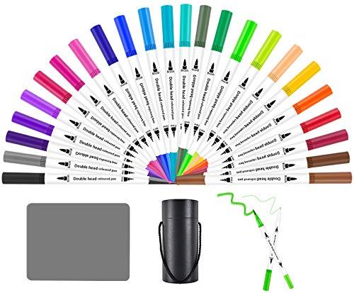 YiWeel Filzstifte 24 Farben Dual Brush Pen Set mit Silikonpad, Fineliner und Filzstifte, Aquarell Pinselstifte Für Bullet Journal Stifte, Handlettering, Kalligraphie