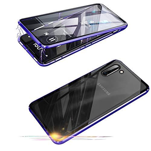 Jonwelsy - Carcasa para Samsung Galaxy Note 10 (6,3 Pulgadas), 360 Grados (Delantera y Trasera de Cristal Templado, Transparente, tecnología de absorción magnética, antigolpes, Metal