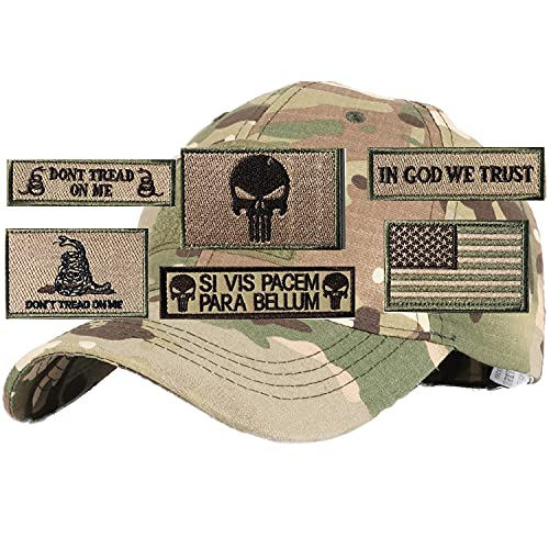 Hng Kiang Hu Tactical Hat with 6 Pieces Military Patches Adjustable Operator Flag Hats Cap Army Hats for Men Baseball Cap (Multicam)