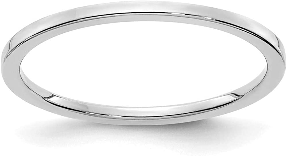 10k White Gold 1.2mm Flat Stackable Wedding Ring Band Size 8.50 Classic Fine Jewelry For Women Gifts For Her