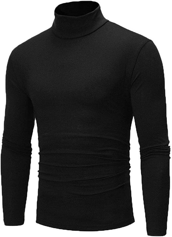 Black - Men's Winter Pullover Jumper Sweater Warm Cotton High Neck Turtleneck Tops