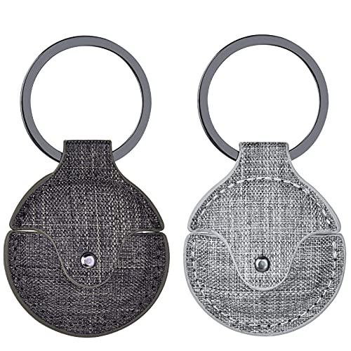V-MORO Airtags Hülle Case, 2 Stück Hülle mit Schlüsselring Tragbare Schlüsselsucher Hülle Schlüsselanhänger Case Kompatibel mit Apple Airtags (Dark Brown/Grey)
