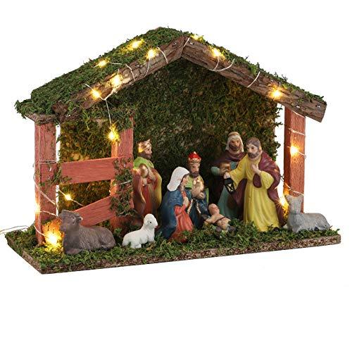 Krippe aus Holz Weihnachtskrippe Krippenfiguren LED Weihnachtsdeko Weihnachten Haus Stall beleuchtet mit 9 Figuren Krippen Zubehör Maria Josef Jesus Porzellan Figur mit Haus Krippenstall Christmas Set