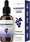 Organic Elderberry Syrup [Double Strength] Liquid Extract for Kids & Adults - Immune Support &...