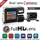 YunJiadodo I1000 Doble cámara de Coche dvr videocámara i1000 Auto HD 1080P cámara de salpicadero Negro Caja de conducción grabadora con Aparcamiento cámara de Lente Trasera