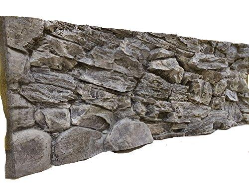 Aqua Maniac Fond d'aquarium 3D en 2 sections roche grise, polyrésine (pas de mousse), 4-6 cm d'épaisseur, décor Aqua unique (146 x 45 cm)