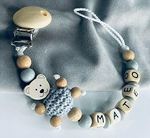 Schnullerkette mit Namen für Mädchen & Junge Teddybär In Grau Holz personalisiertes Babygeschenk