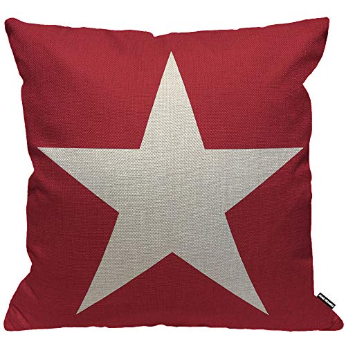 HGOD DESIGNS Cushion Cover Red Star Abstract Usa Star Design On The Red Background Throw Pillow Cover Home Decorative for Men/Women/Boys/Girls living room Bedroom Sofa Chair 18X18 Inch Pillowcase