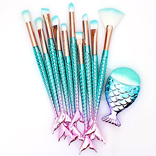 11PCS Makeup Brushes Set with Colorful Fish Tail...