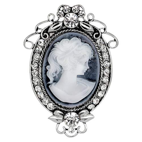 Amosfun Vintage Antik Kamee Damen-Brosche Pin Damen Kristall Strass Brustpin Vintage Lady Maiden Kamee Brosche Pin für Frauen Muttertag Souvenir