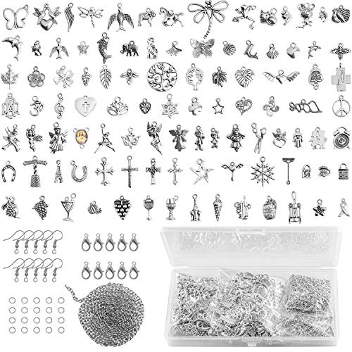 Silver Charm for Jewelry Making Supplies, LUBEADS Mixed 200Pcs Bracelets Charms Pendant Making Kits - With Jump Ring, Lobster Clasp Earring Hook Long Chain for Adult Bracelet Earring Necklace