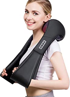 Sunanth Shiatsu Back Neck Massager with Heat,Deep Tissue Kneading Massage Pillow for Shoulder,Waist,Legs,Foot,Use at Home,Office and Car