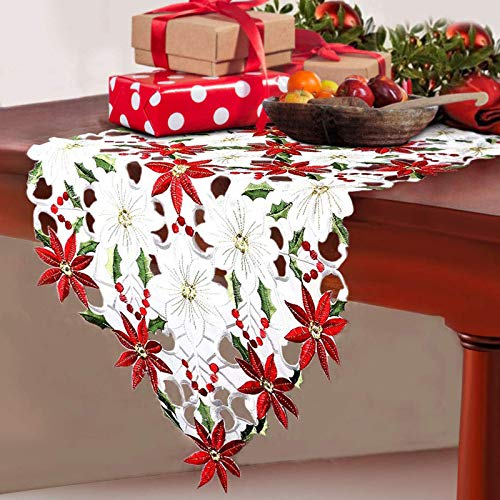 Fowecelt Christmas Embroidered Table Runner Christmas Poinsettia Holly Leaf Openwork Hand-Woven Table Linens for Christmas Decorations 15 x 69 Inch