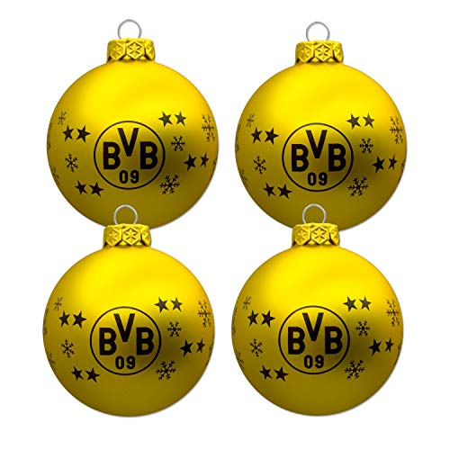 Borussia Dortmund Christbaumkugeln, Weihnachtskugeln 4er Set BVB 09
