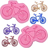 HengKe 2 Piece Bicycle Silicone Cake Mould Outdoor Sports Gathering Molds for Pastry,Cake Decoration Sugarcraft, Cookie Decor, Jewelry,Polymer Clay, Candy, Chocolate, Soap Wax Making Crafting Projects