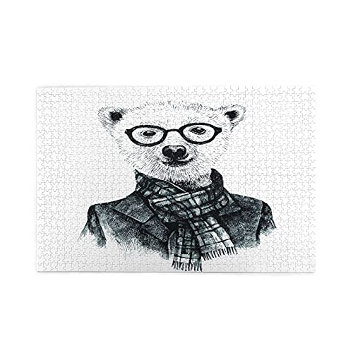 Rompecabezas de 1000 piezas,oso hipster disfrazado a mano con gafas,ilustraciones de juegos de rompecabezas para adultos y adolescentes