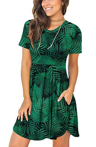 LONGYUAN Women Spring Short Sleeve Casual Dresses Loose Comfy Sundress with Pockets Leaf Green...