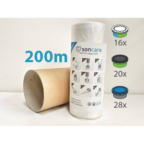 Nachfüllfolie Windeltwister 200m für Sangenic, Tommee Tippee, Angelcare und Litter Locker - Entspricht 28 Angelcare Nachfüllkassetten inklusive Papphülse - nicht Original aber zu 100% kompatibel