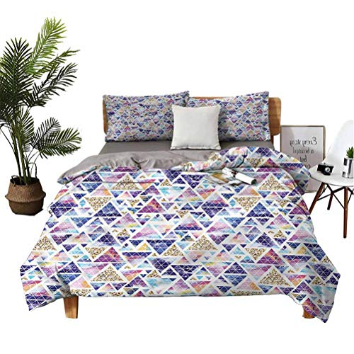 Geometric 3-Piece Bed Quilt Lightweight Bedspread Set Triangular Space Art for Children Teens Full Size California King