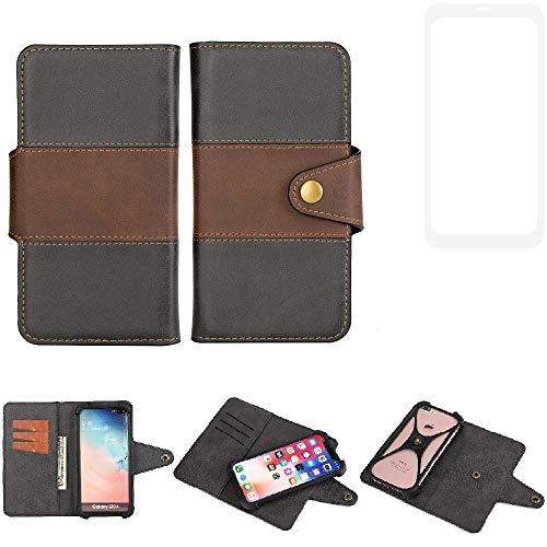 K-S-Trade® Handy-Hülle Schutz-Hülle Bookstyle Wallet-Case Für -Vestel V3 5580 Dual-SIM- Bumper R&umschutz Schwarz-braun 1x