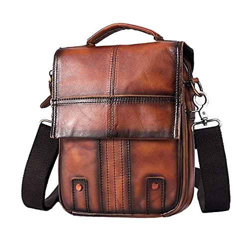 Leuchtbox Leder Umhängetasche Herren Messenger-Bag Crossbody-Bag Urban Casual Design Vintage Style (Rotbraun)