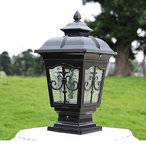 Naiyn E27 Lámpara de pilar tradicional Victoria al aire libre Retro Bolardo Luz de pilar Patio Jardín Puerta exterior Poste de césped Entrada de luz Lámpara de columna Impermeable IP55