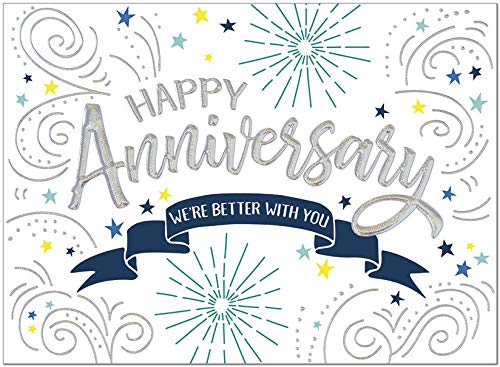 25 Employee Anniversary Cards - Confetti and Stars Design with Silver Holographic Foil Embossing - 26 White Envelopes - FSC Mix