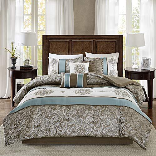 Madison Park Comforter Faux Silk-Traditional Luxurious Jacquard Design All Season Set, Matching Bed Skirt, Decorative Pillows, Queen(90'x90'), Blue
