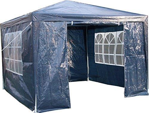 Tenda Tendone Gazebo 3m x 4m Con Pannelli Laterali Blu Airwave. Tetto Peso 120g IMPERMEABILE con Struttura In Acciaio Rivestito