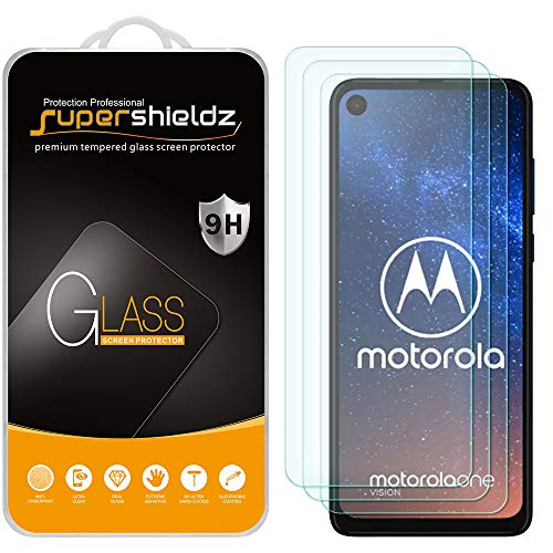 (3 Pack) Supershieldz for Motorola One Vision and One Action Tempered Glass Screen Protector, Anti Scratch, Bubble Free