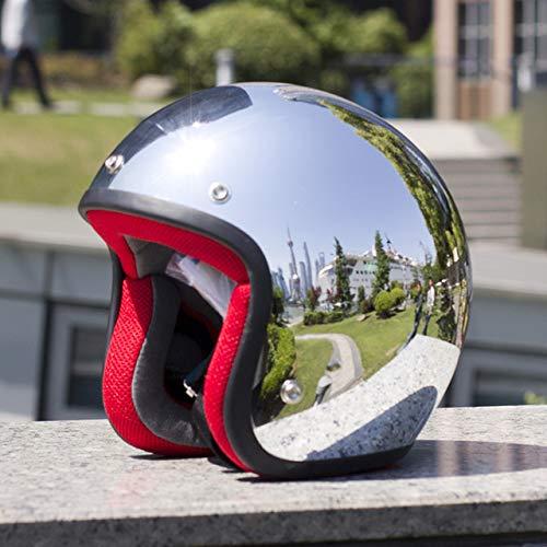 MYSdd - Casco de moto vintage plateado cromado espejo pintura cascos capacete Jet Scooter abierto retro casco plateado con rojo 60 m
