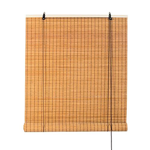 竹製ロールスクリーン 天然竹すだれ 簾 フレンチバンブーブラインド 和室洋室 室内 遮光遮熱 目隠し 風通し ロールアップ機能付き 幅88×高さ170cm(ベージュ, 88*170)