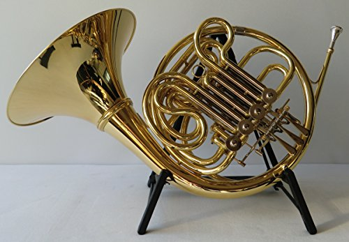 Symfonie Westerwald boshoorn/dubbele hoorn in Bb/F, goud/zilver + hoornstandaard, incl. luxe harde koffer en accessoires, nieuw