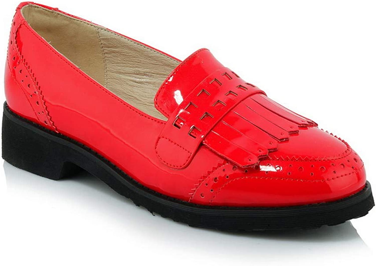 AN Womens Square Heels Tassels Patent-Leather Pumps shoes DGU00773