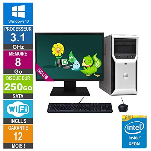 Little Phoenix PC Dell Precision T1600 Xeon E3-1225 3,10 GHz 8 GB/250 GB WiFi W10 + Display 24