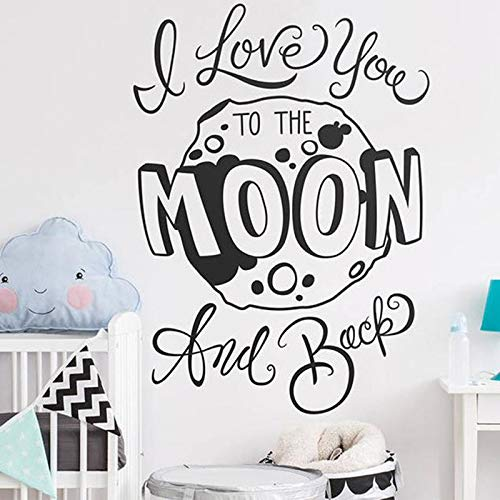 AQjept Kindergarten Wall Decals-I Love You Quotes to The Moon and Back Wall, Vinyl Decals, Moon decals84x116cm