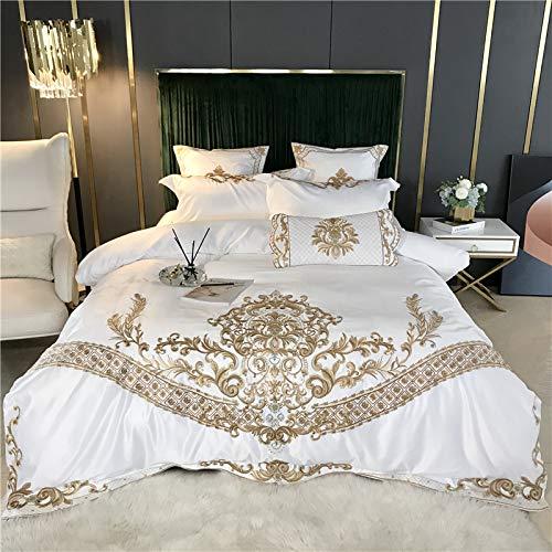 ADLOASHLOU Juego de Cama de algodón de Seda y satén Bordado de Lujo (1 Funda nórdica + 1 sábana + 2 Fundas de Almohada) Juego de Cama Suave White-King Bed Sheet Style