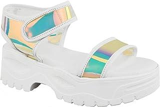 257bee01 Fashion Thirsty Mujer Suela Gruesa Plataforma Sandalias de Verano Blanco  Holograma Perspex Transparente por Heelberry®