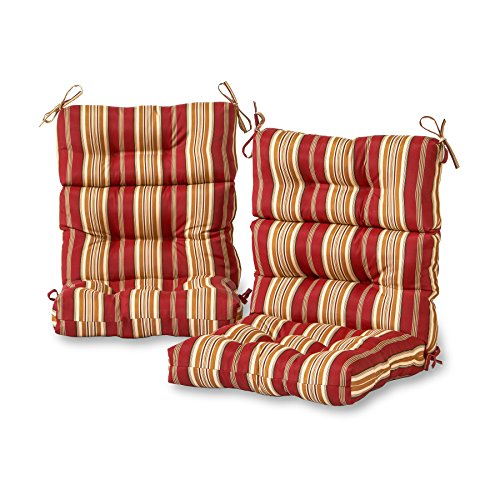 Greendale Home Fashions AZ6809S2-ROMASTRIPE Tuscan Stripe Outdoor High Back Chair Cushion (Set of 2)