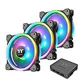 Thermaltake Riing Trio 12 LED RGB - Pack de 3 ventiladores para PC, color negro